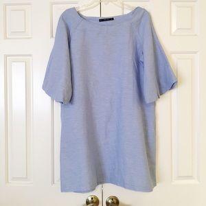Zara light blue dress w/ pockets. Large EUC